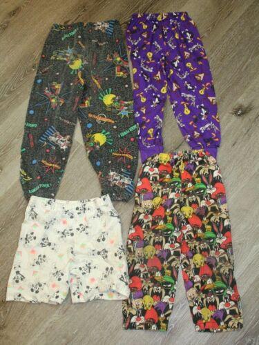 Lot of 4 Vintage 80s 90s Boys Youth Pants Looney Tunes Disney Power Rangers
