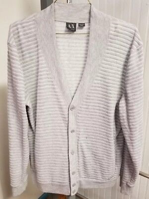 Armani Exchange Knit Cardigan Sweater Polyester Rayon Blend Gray Mens XL Ribbed