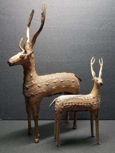 """Vintage Dhokra Hand Cast Bell Metal Swamp Deer Pair with Clay Cores India 8.25"""""""