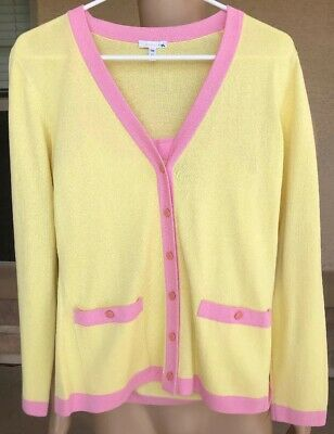 NWOT Escada 2 Piece Sweater Cardigan Tank Top Yellow Pink Trim Size 36 Germany