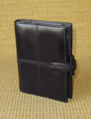 Pocket Filofax Black Leather Cross Open Plannerbinder