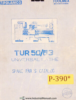 Toolmex Polamco Tur 50 Tur 63 Lathe Parts And Electrical Manual
