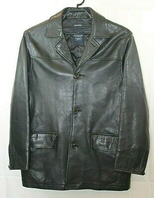 Nautica Mens M 100% Leather Coat Jacket Quilted Lining Size M
