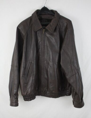 Wilsons Mens Brown Leather Bomber Flight Lined Jacket Coat Size XL