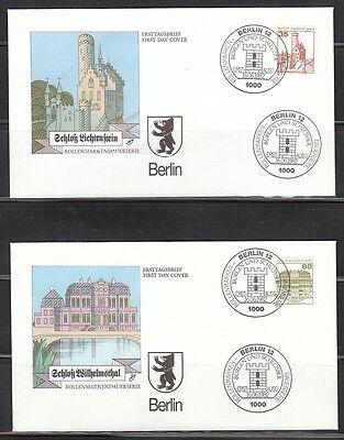 """486) BERLIN: Mi.-Nr. 673/77 A """" Burgen u.Schlößer """" auf FDC`s ! 3 Scans!"""