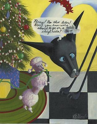 CHRISTMAS TREE SLEIGH RIDE NEW YORK CITY BEATNIK SIAMESE CAT POODLE DOG PAINTING