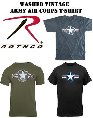 Army Air Corp Olive Drab Blue Black Washed Vintage Short Sleeve T-Shirt Rothco Army Air Corp Blue T-shirt