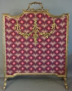 Antique FRENCH ART NOUVEAU Style BRASS Floral ORMOLU Old FIREPLACE FIRE SCREEN