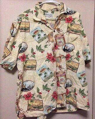 Bishop Row Apparel Men's Hawaiian Shirt Maui Coffee Kona Honolulu