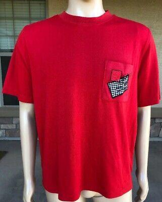 Vintage Koret Solid Red Pocket T Shirt Stamp Mail Macau Made Size Large -