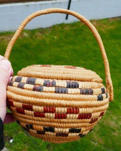 Vintage Native Thompson River Hand Woven Covered Handled Basket