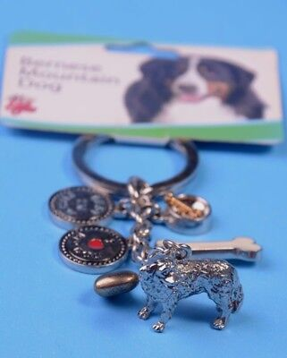 Bernese Mountain Dog Keychain, Pewter, 6 charms, I Love My Dog,Best In Show