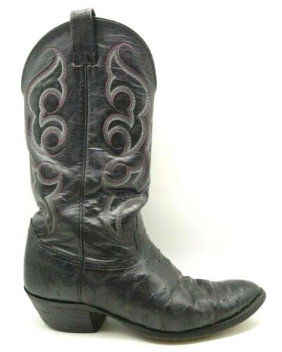 Nocona, Black, Full, Quill, Ostrich, Leather, Cowboy, Western, Boots, Mens, 10, D