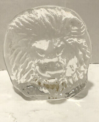 Signed Wedgewood clear glass lion Head With Mane paperweight