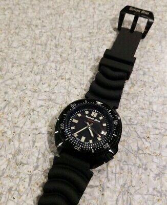 Detroit Mint Islander Matte Black Diver Band NH35A Automatic 6105 Dive Watch