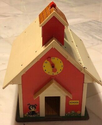 1971 Vintage Fisher-Price Play Family School House With Working Bell