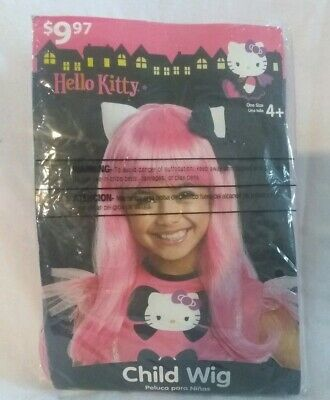 Hello Kitty Costume Child Wig Halloween Pink with Ears + Black Bow New/Open