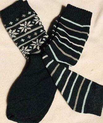 Ladies Thermal Crew Socks Snowflake Stripe 2 Pair Cushioned Boot Green