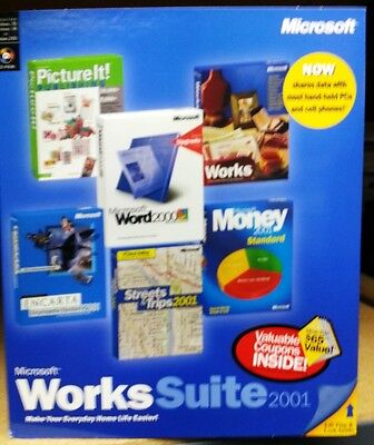 New Ms Works Suite 2001  Word 2000 Picture It  2001 Money 2001 Works 6 0  Nib