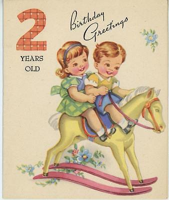 VINTAGE CUTE BOY GIRL RIDING TOY ROCKING HORSE 2 YEARS OLD BIRTHDAY CARD PRINT - Cute 2 Year Old Boy