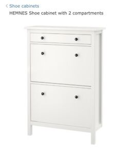 IKEA HEMNES Shoe cabinet with 2 compartments, white used