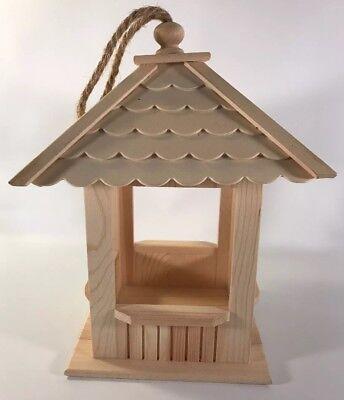 BIRD HOUSE Adorable Small Square Shape Wood Bird Feeder Gazebo Unfinished