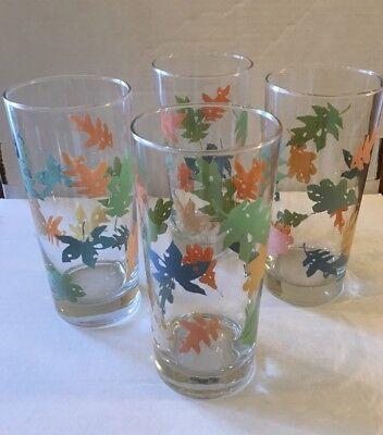 Thanksgiving Fall Autumn Leaves Leaf Pattern  Glass Glassware Set (Thanksgiving Glasses)