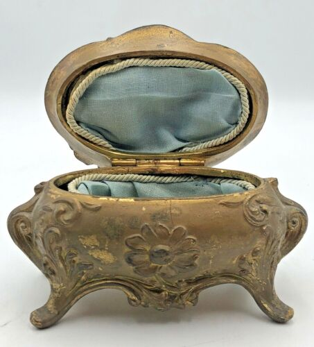 Ornate Antique Metal Jewelry Casket Trinket Box with Lining Footed B&W 158
