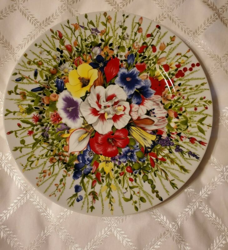 "Taitu Italy, I Fiori Flowers Dinner Plate 12"" By Emilio Bergamin Never Used 1989"