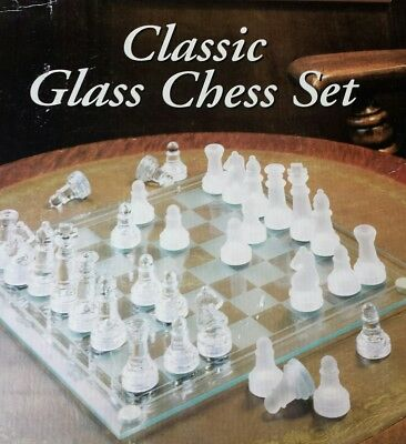 Classic Glass Chess Board Frosted & Clear Glass NEW INBOX !!