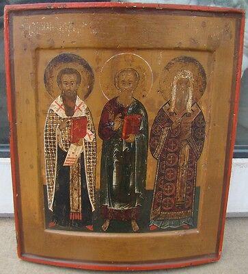 Orig. russische Ikone 3 Heilige um 1620 mit Expertise