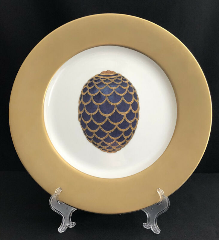 """FABERGE FINE CHINA COBALT & GOLD THE PINE CONE EGG 12"""" CHARGER SERVICE PLATE"""