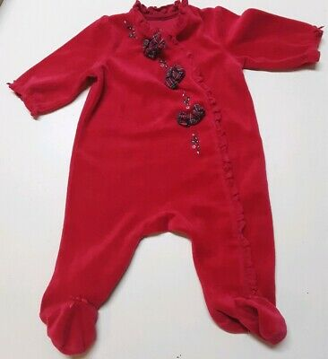 Little Me 3M Girls Long Sleeve Red Bodysuit Creeper Footed Holiday Christmas