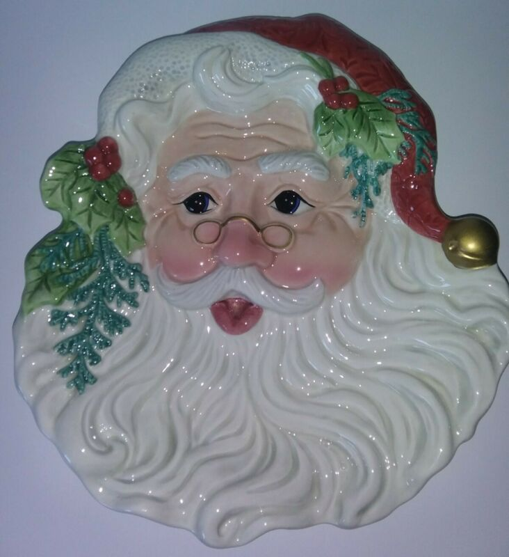 Vintage Fitz and Floyd Old Fashioned Christmas Santa Canape/Cookie Plate