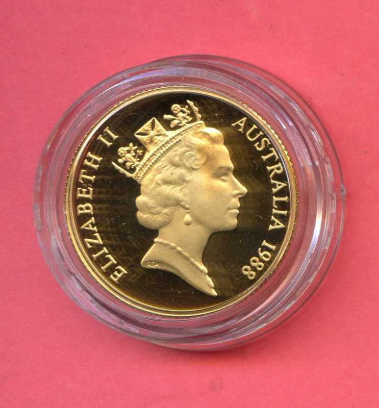 1788 to 1988 Australia Gold $200 Coin. Uncirculated. With Certificate. Lot #323