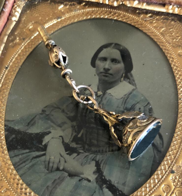 Antique Victorian Watch Key & Fob Fancy Applied Leaves GF Bloodstone