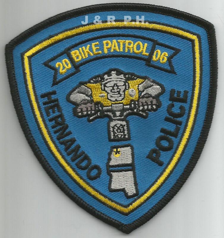 """Hernando - Bike Patrol, Mississippi  (3.75"""" x 4"""")  shoulder police patch (fire)"""