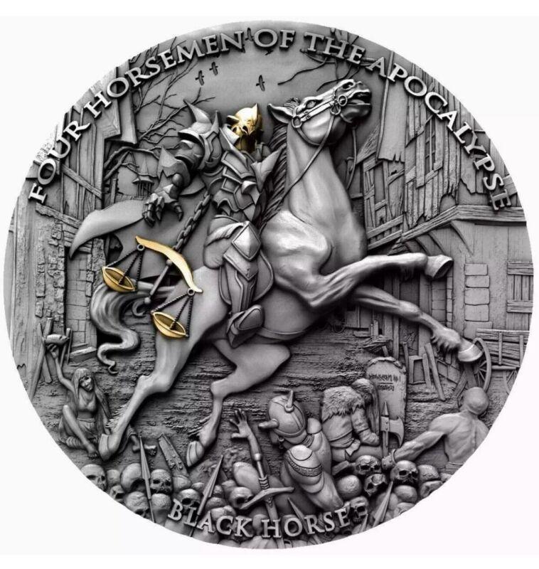 IN HAND BLACK HORSE Four Horsemen Of The Apocalypse 2oz Silver Coin  Niue 2020