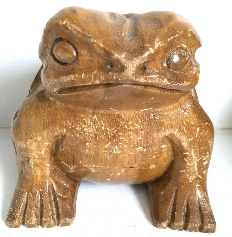 """Frog Toad Wood Figurine Vtg Hand Carved Sculpture 4.5"""""""