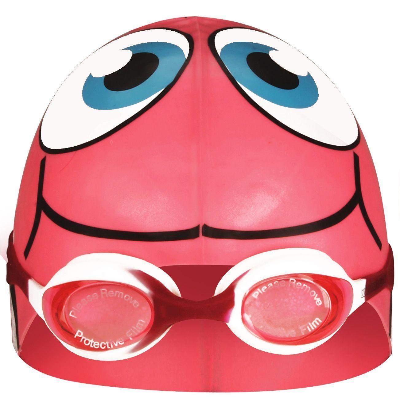 """Badekappe Bademütze """"Fisch"""" und Schwimmbrille mit UV-Schutz  im Set  - NEU -"""