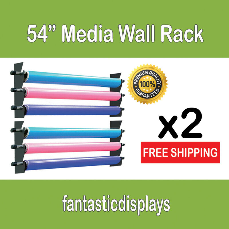 "54"" Media Storage Wall Rack Vinyl Rolls / Fabric - 2 Pack"
