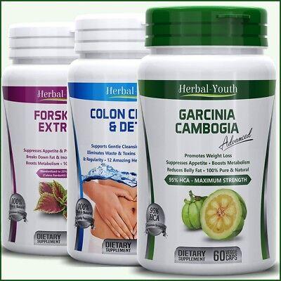 GARCINIA CAMBOGIA + FORSKOLIN + COLON CLEANSE DETOX Capsules