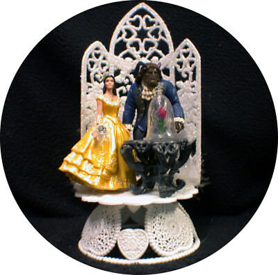NEWEST Disney Enchanted Rose Beauty and the Beast Wedding Cake Topper  Belle top ()