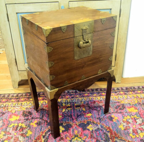 Asian Lidded Storage Chest & Stand Tooled Brass Hardware Chinese Paper Interior