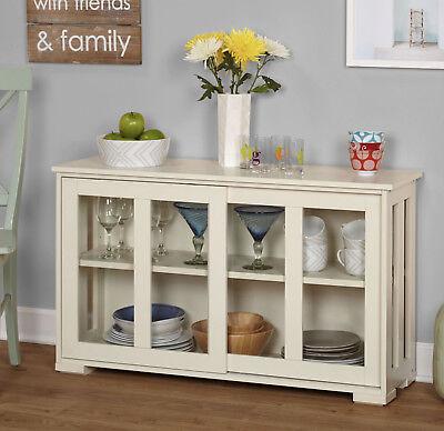 Glass Door Cabinet White Stackable Antique Kitchen Dinnerware Storage Wood New!