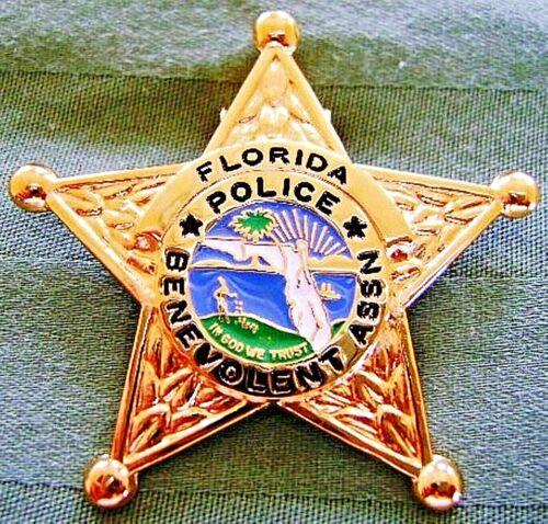 NEW RARE COLLECTIBLE FLORIDA POLICE BENEVOLENT ASSOCIATION PBA SHERIFF BADGE