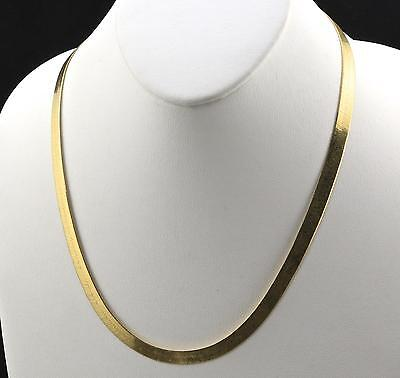 Mens 14K Yellow Gold Plated 24in Herringbone Chain Necklace 4 MM