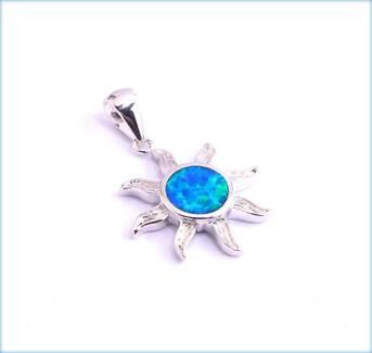BLUE FIRE CREATED OPAL SUNBURST SILVER FILLED PENDANT 30MM LENGTH