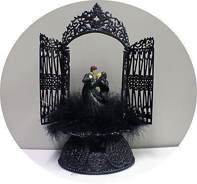 Sexy Black Gown Groom Top Wedding Cake Toppers Halloween Gothic Frankenstein (Halloween Wedding Toppers)
