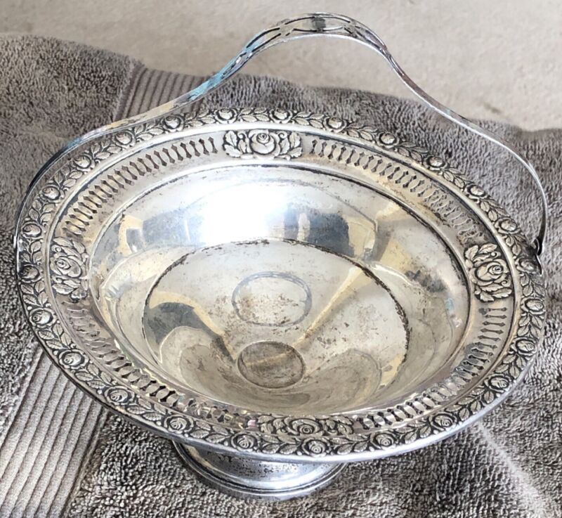 Vintage Wallace Antique Sterling Silver Tray Royal Rose 274 Weighted Base